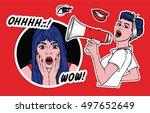 pop art style fashion patch...   Shutterstock .eps vector #497652649