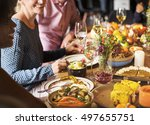 people celebrating thanksgiving ... | Shutterstock . vector #497655751