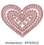 hand drawn heart henna  mehndi  ... | Shutterstock .eps vector #49765612
