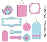 pink and blue tags  frames and... | Shutterstock .eps vector #49765621