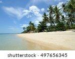 tropical beach  blue sky  white ... | Shutterstock . vector #497656345