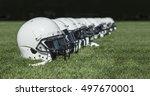 row of american football... | Shutterstock . vector #497670001
