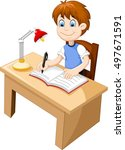 Funny Boy Cartoon Studying At ...