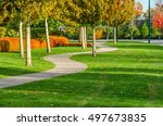 curved sidewalk  path  trail at ... | Shutterstock . vector #497673835