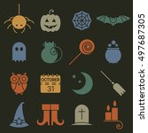 halloween colorful flat icons... | Shutterstock .eps vector #497687305