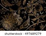 vintage japanese chrysanthemum... | Shutterstock .eps vector #497689279