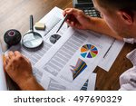 business analysis   calculator  ... | Shutterstock . vector #497690329