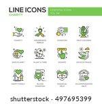 charity   modern vector line... | Shutterstock .eps vector #497695399