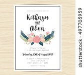 wedding invitation card... | Shutterstock .eps vector #497705959