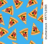 pizza slice seamless pattern.... | Shutterstock .eps vector #497713585