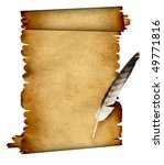 scroll of parchment and feather.... | Shutterstock . vector #49771816