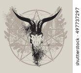 vector illustration with skull... | Shutterstock .eps vector #497737297