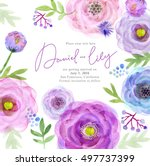 watercolor greeting card... | Shutterstock . vector #497737399