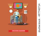 man vacuuming floor in his room.... | Shutterstock .eps vector #497740714