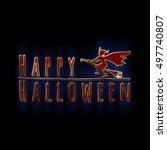 happy halloween lettering... | Shutterstock . vector #497740807