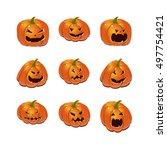 halloween set with pumpkins | Shutterstock .eps vector #497754421