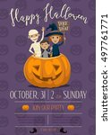 halloween party invitation with ... | Shutterstock .eps vector #497761771