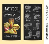 fast food menu poster. chalk... | Shutterstock .eps vector #497766124