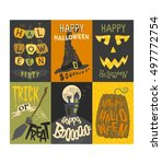 set of happy halloween greeting ... | Shutterstock .eps vector #497772754
