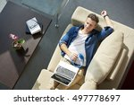 top view shot of man with... | Shutterstock . vector #497778697