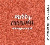 merry christmas card. vector... | Shutterstock .eps vector #497783311