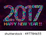 new year 2017 wallpaper. happy... | Shutterstock .eps vector #497784655