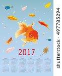 vertical calendar for 2017.... | Shutterstock .eps vector #497785294