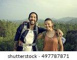 couple travel adventure... | Shutterstock . vector #497787871