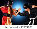 Young japanese couple fighting. Focus on woman. - stock photo