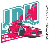 burnout car  japanese drift... | Shutterstock .eps vector #497794624