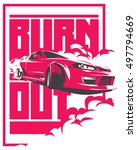burnout car  japanese drift... | Shutterstock .eps vector #497794669