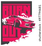 burnout car  japanese drift... | Shutterstock .eps vector #497794681