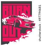 burnout car  japanese drift...   Shutterstock .eps vector #497794681