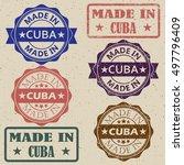 made in cuba vintage stamp set... | Shutterstock .eps vector #497796409