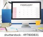 february monthly calendar... | Shutterstock . vector #497800831