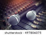 microphone on sound mixer out... | Shutterstock . vector #497806075