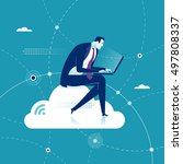 cloud networking. businessman... | Shutterstock .eps vector #497808337