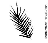 brush painted palm leaf. hand...   Shutterstock .eps vector #497810404