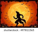 orange halloween background... | Shutterstock . vector #497811565