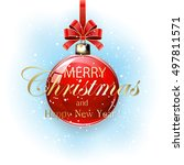 red christmas ball with... | Shutterstock . vector #497811571