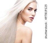 beautiful blond girl in move... | Shutterstock . vector #497819125