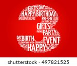 happy 3rd birthday word cloud... | Shutterstock .eps vector #497821525