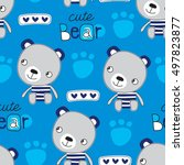 seamless blue teddy bear... | Shutterstock .eps vector #497823877