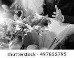 doctor hand using smart phone... | Shutterstock . vector #497833795