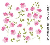 set of linen flowers elements.... | Shutterstock .eps vector #497834554