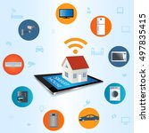 internet of things concept.... | Shutterstock .eps vector #497835415