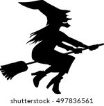 witch flying on boom | Shutterstock .eps vector #497836561