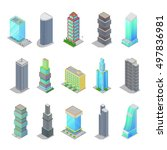 isometric city skyscraper... | Shutterstock .eps vector #497836981