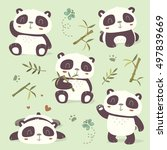 vector cartoon style panda set | Shutterstock .eps vector #497839669