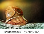 sweet little baby dreaming of... | Shutterstock . vector #497840464